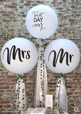 Giant wedding balloon ball topiary