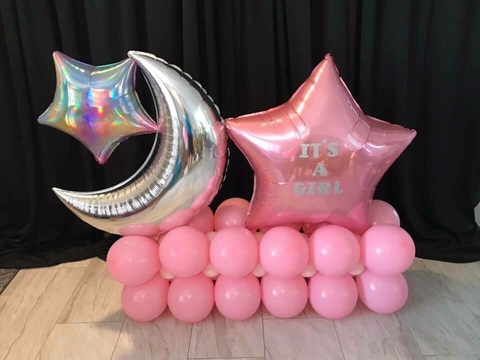 Baby reveal balloon decoration marquee