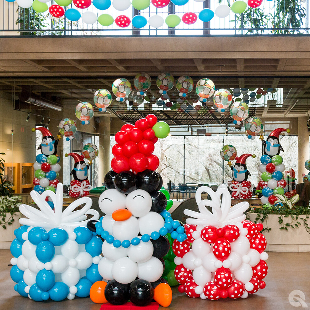 penguin balloon column & christmas box columns (indoors)
