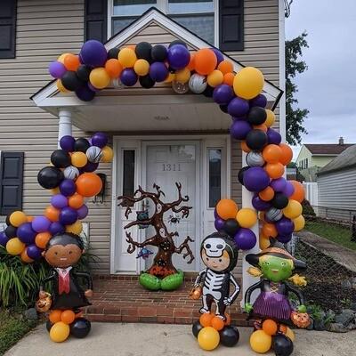 Halloween balloon decor demi arch