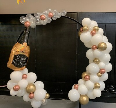 New Year's Balloon Champagne Circle including frame rental, sculpt, installation, removal (indoors)