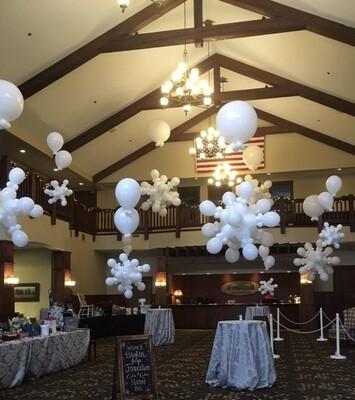 Snowflake balloon chandeliers (indoors)