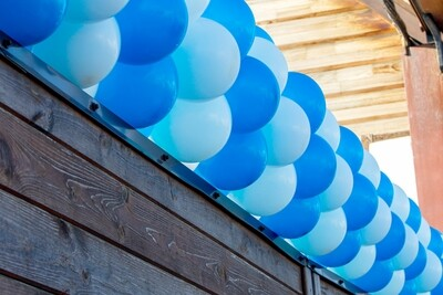 Traditional Air filled balloon garland, uniform bubbles