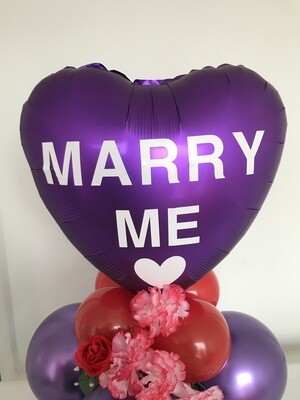 Satin Heart balloon bouquet, customized with any message