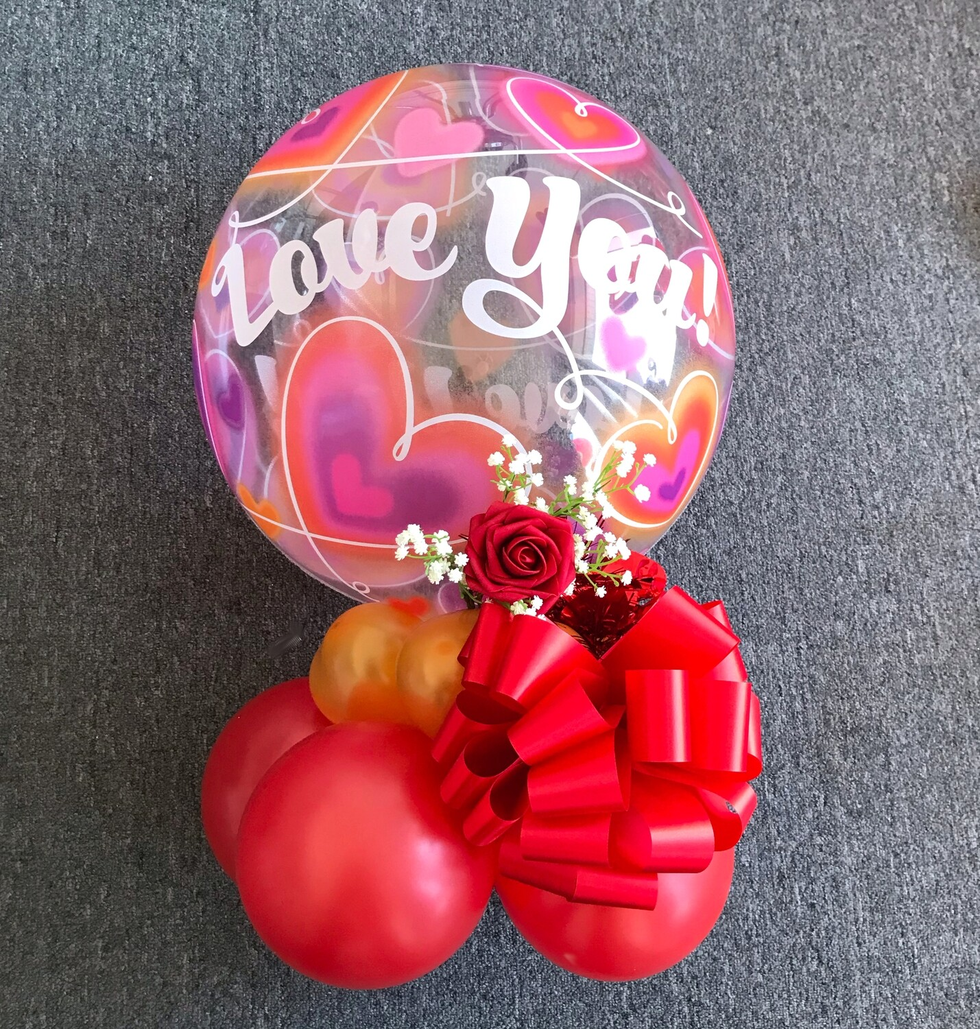 Love you bubble balloon bouquet air filled