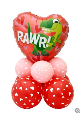 Rawr heart balloon bouquet air filled