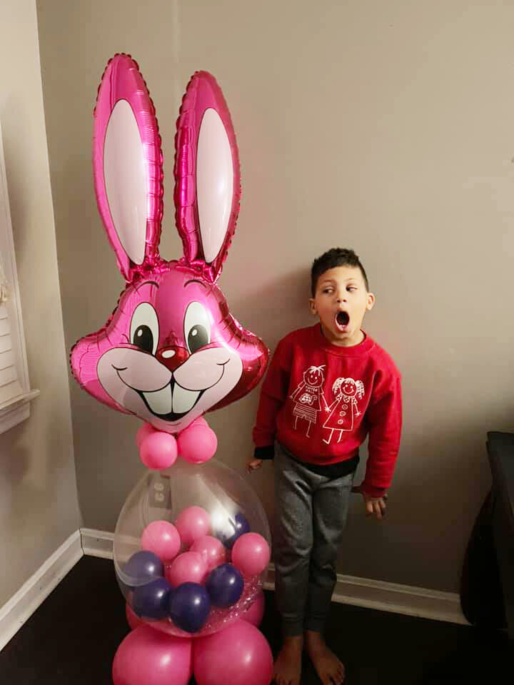 Giant Easter bunny balloon with Easter Treats and a note from the Easter Bunny