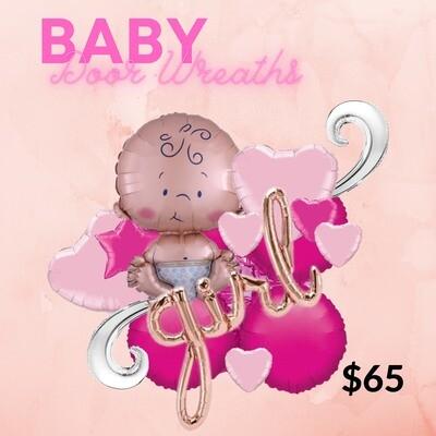 Baby girl balloon door wreath