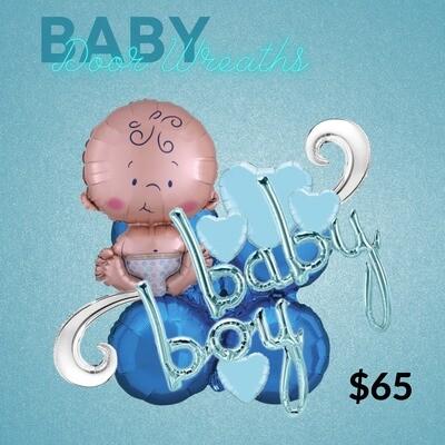 Baby boy balloon door wreath