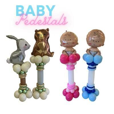 baby shower balloon decor pedestals