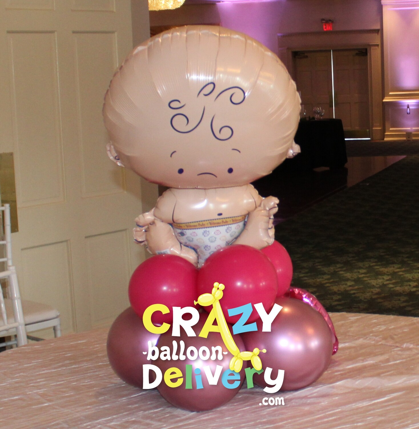 baby shower centerpieces with foil topper (indoors only)