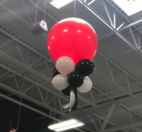Chandelier Balloons on ceiling air filled, no helium does not float, indoors only