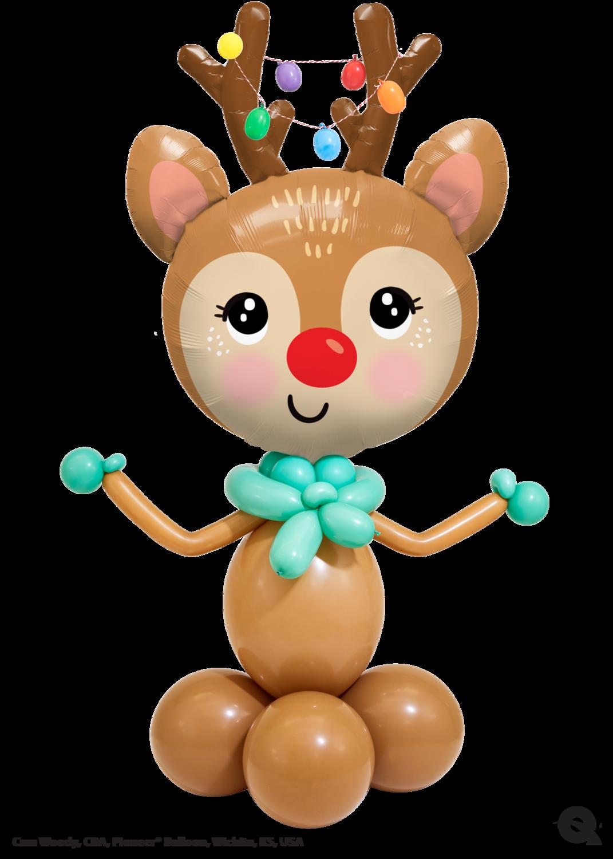 Big Cute Reindeer balloon, helium filled (indoors only)