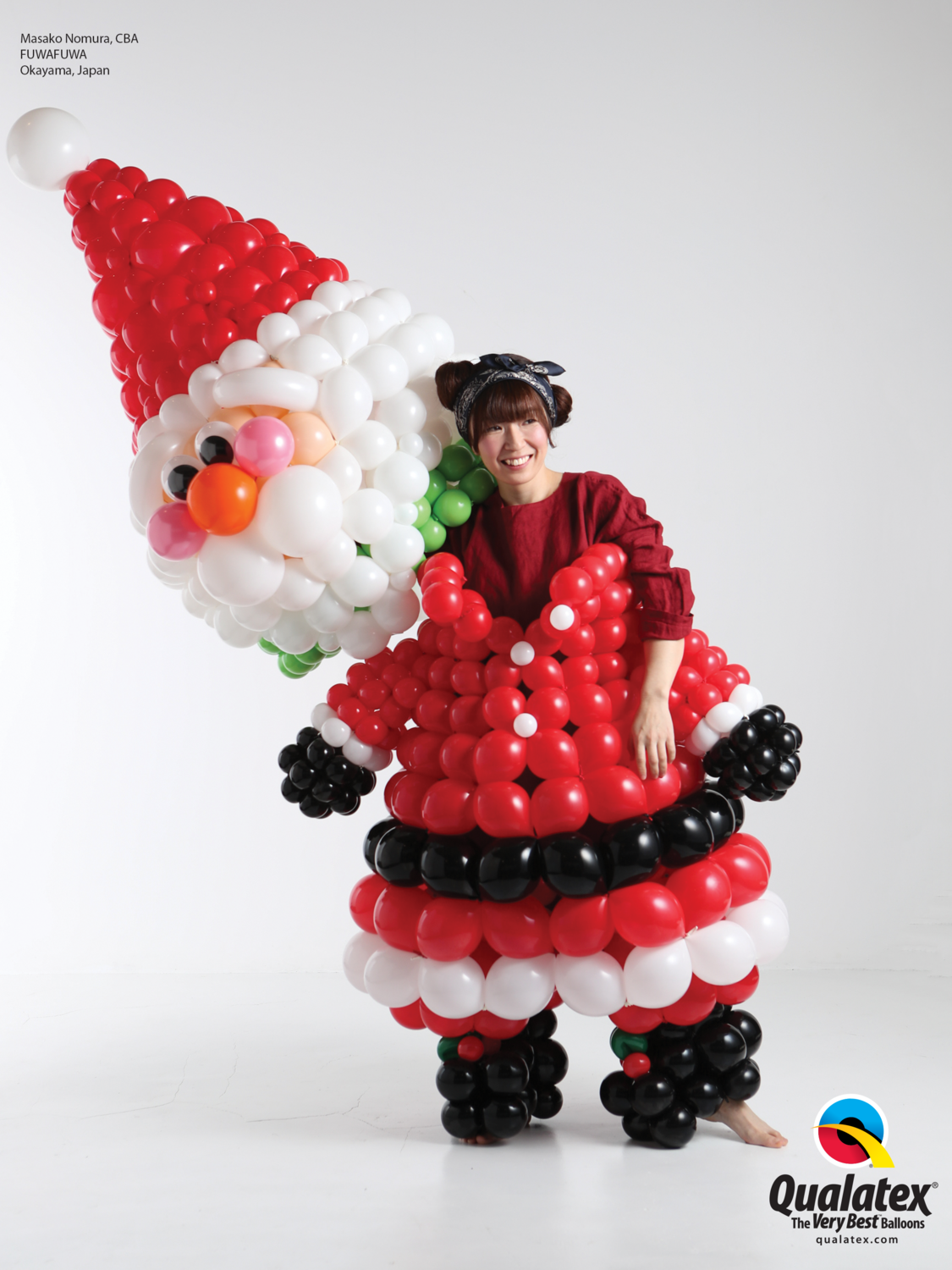Santa clause costume of balloons, air filled