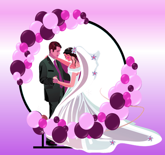 Organic Circle balloon arch for weddings