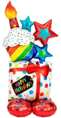 Huge Birthday balloon cake, includes personalization, air filled