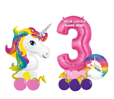 Unicorn balloon milestone number package, long lasting air filled
