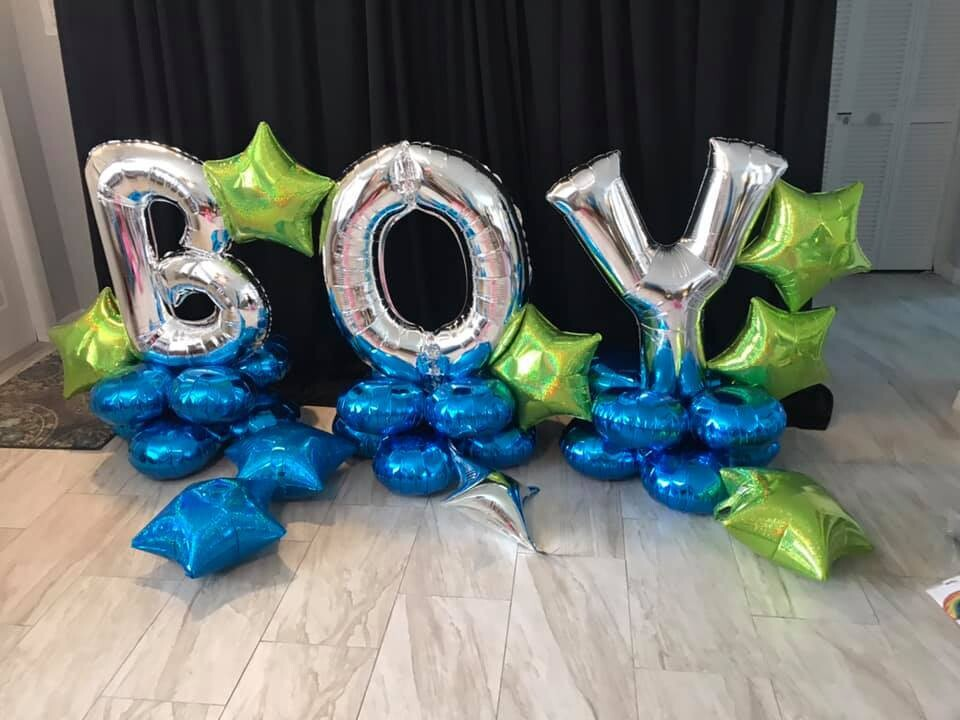 Giant baby shower balloon letter decorations, air filled long lasting