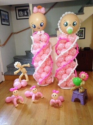 Best baby shower balloons: two Deluxe baby columns plus little baby balloons