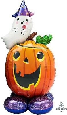 Huge halloween balloon pumpkin and ghost, air filled
