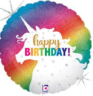 Glitter unicorn happy birthday balloon, 18 inches