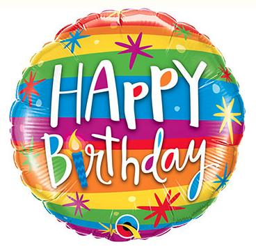 Rainbow Happy Birthday, 18 inches