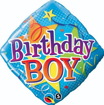 Diamond shaped birthday boy balloon, 18 inches