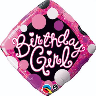 Diamond shaped birthday girl balloon, 18 inches