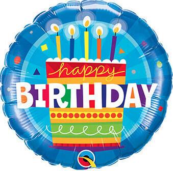 Blue round happy birthday balloon, 18 inches