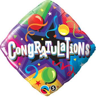 Diamond shaped Congratulations balloon, 18 inches