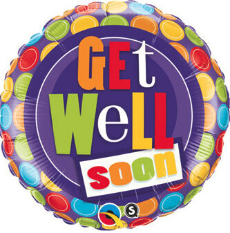 Purple get well soon balloon, 18 inches