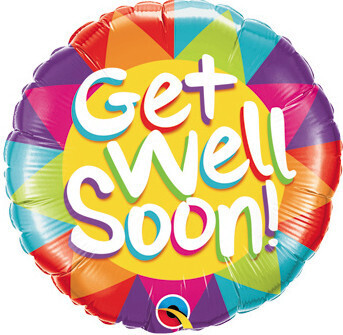 Sun pattern get well soon balloon, 18 inches