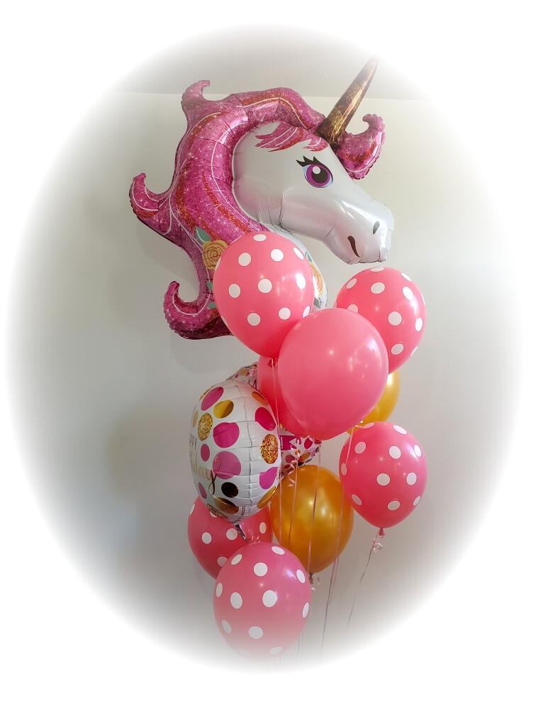 Big tall unicorn helium balloon bouquet (indoors)