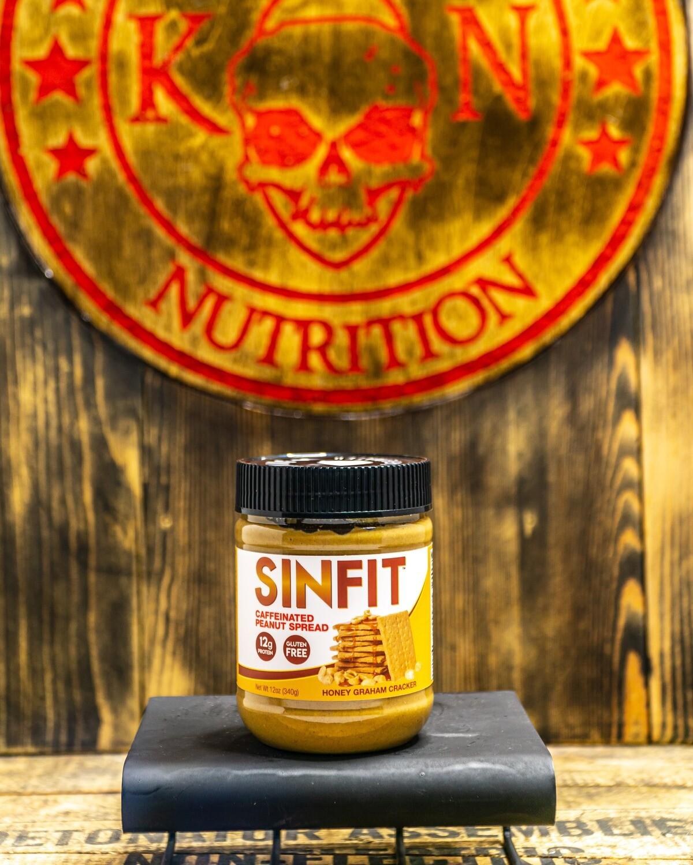 SINFIT, Protein Infused Caffeinated Peanut Spread, 12Oz, Honey Grim Cracker