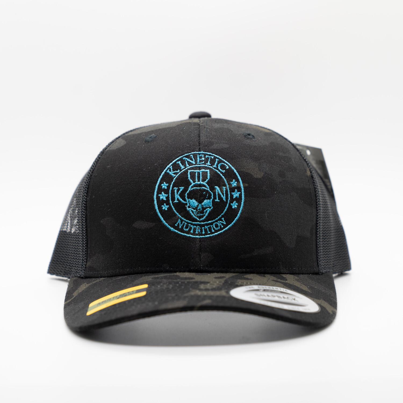 Electric Blue Kinetic Nutrition On Black Multicam Trucker Hat