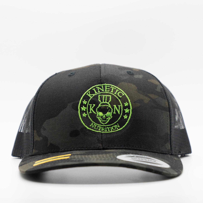 Neon Green Kinetic Nutrition On Black Multicam Trucker Hat
