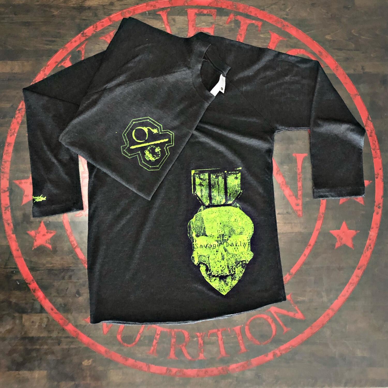 Bomb & Skull, Neon Green SAVAGE DAILY Charcoal Black Tee Grey Baseball