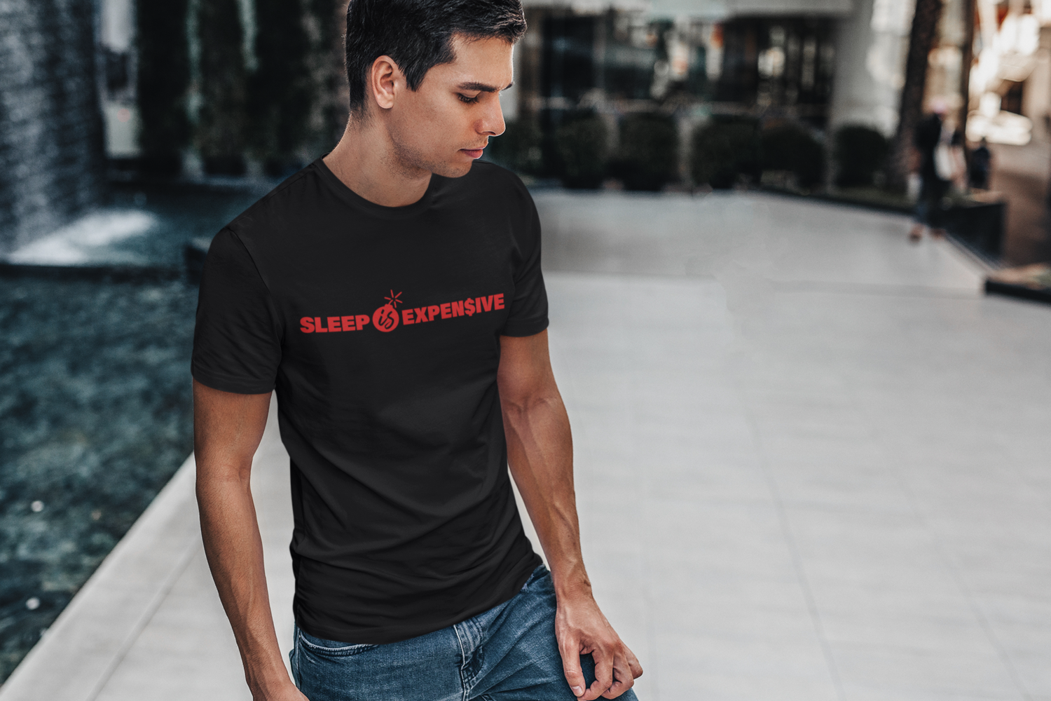 Sleep is Expen$ive (Red Text) Short-Sleeve Unisex T-Shirt