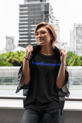 Sleep is Expen$ive (Blue Text) Short-Sleeve Unisex T-Shirt