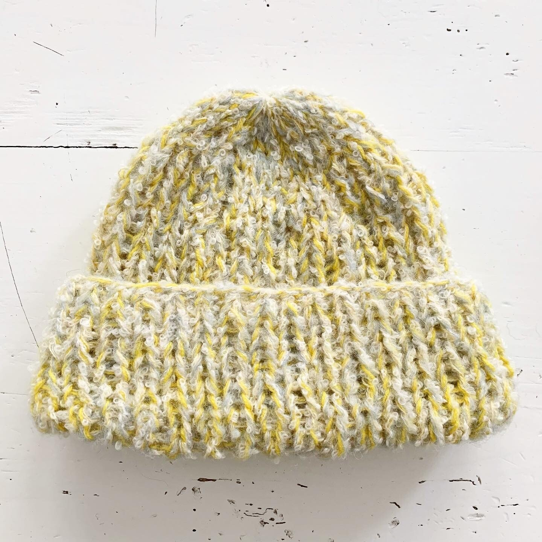 Yellow and White Alpaca Hat
