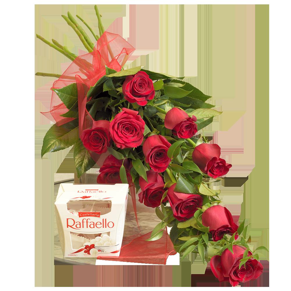 11 červených ruží s pralinkami Raffaello