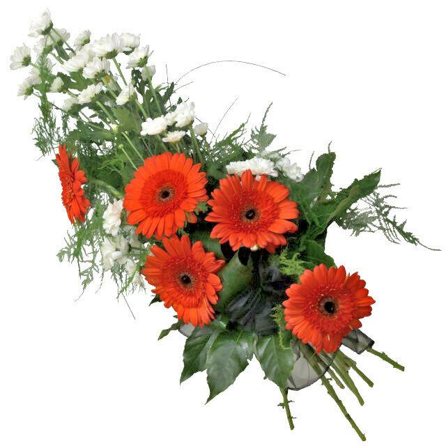 Smútočná kytica s oranžovými gerberami