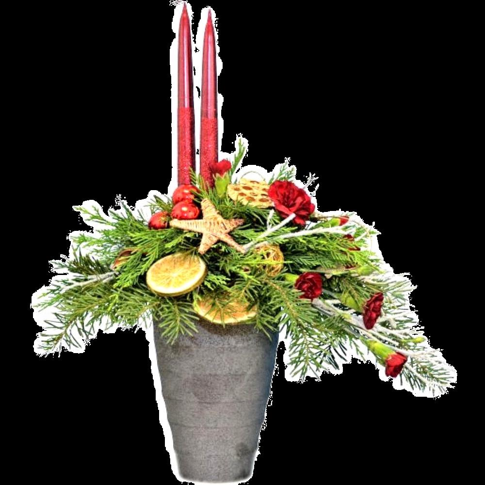Vianočný svietnik s červenými sviečkami