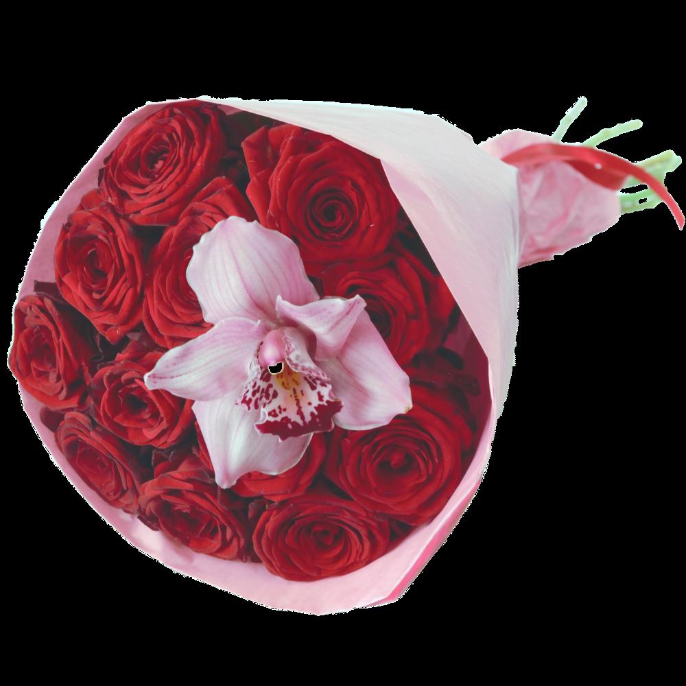 Tucet červených ruží s orchideou