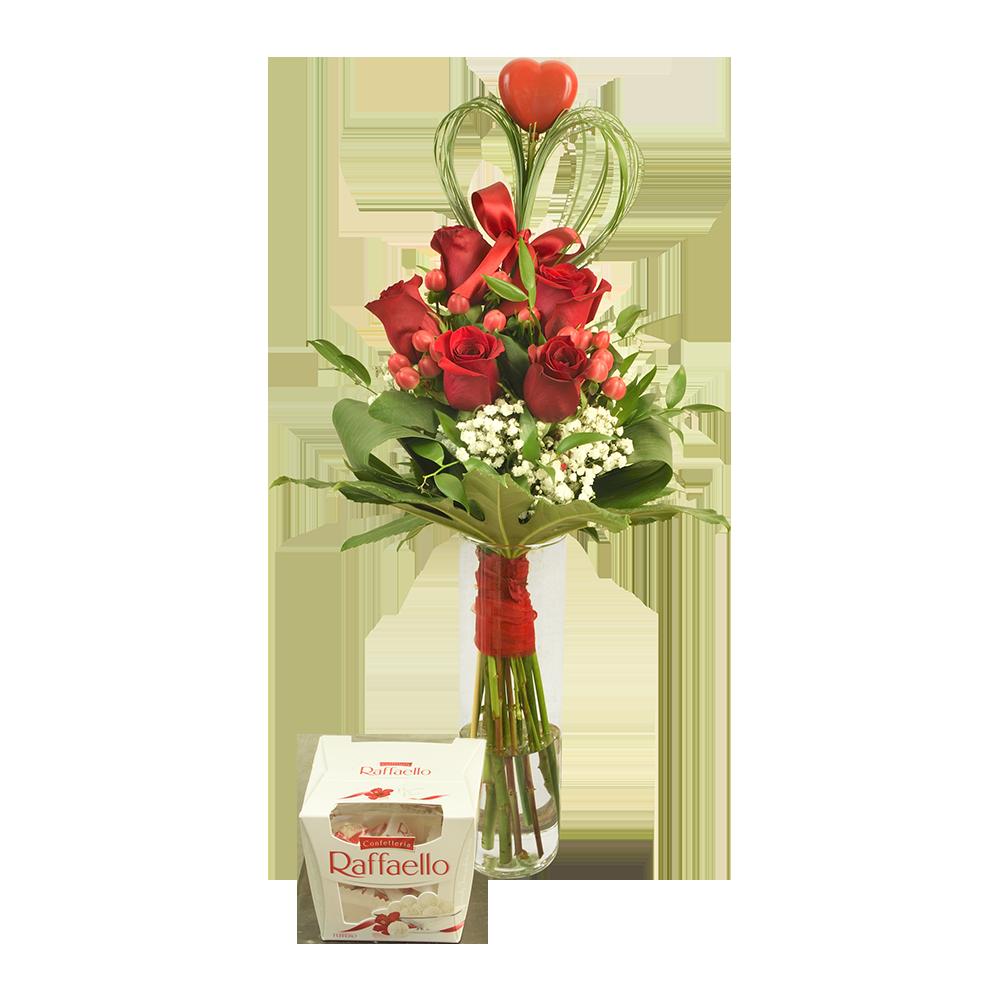 Červené ruže s kokosovými pralinkami