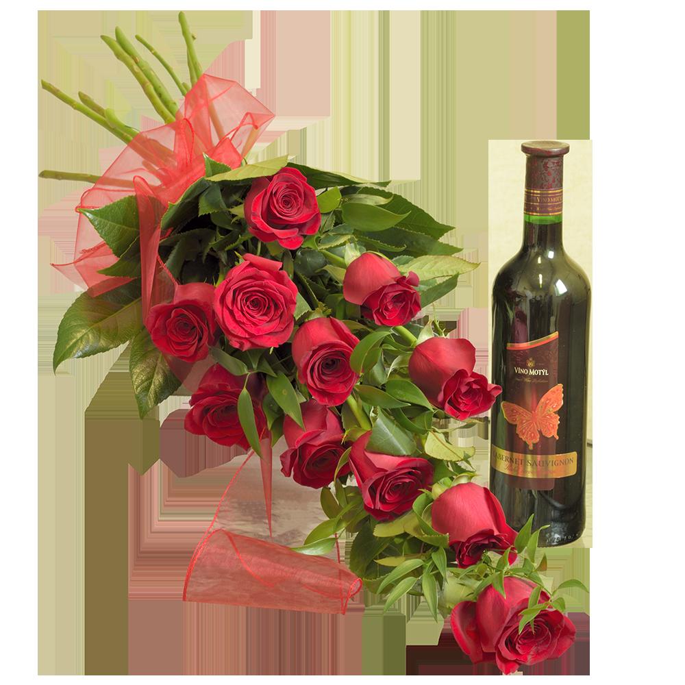 11 červených ruží s fľašou vína