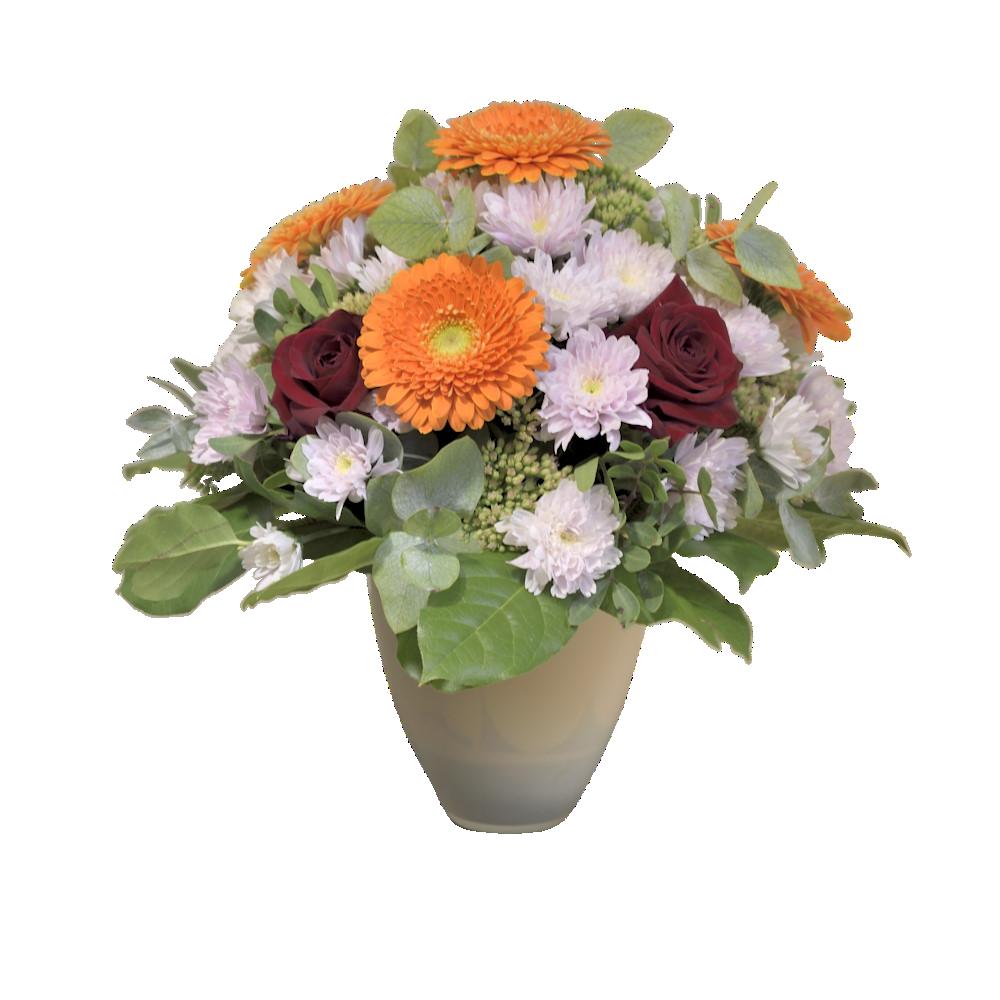 Kytica s oranžovými gerberami a červenými ružami v keramickom obale