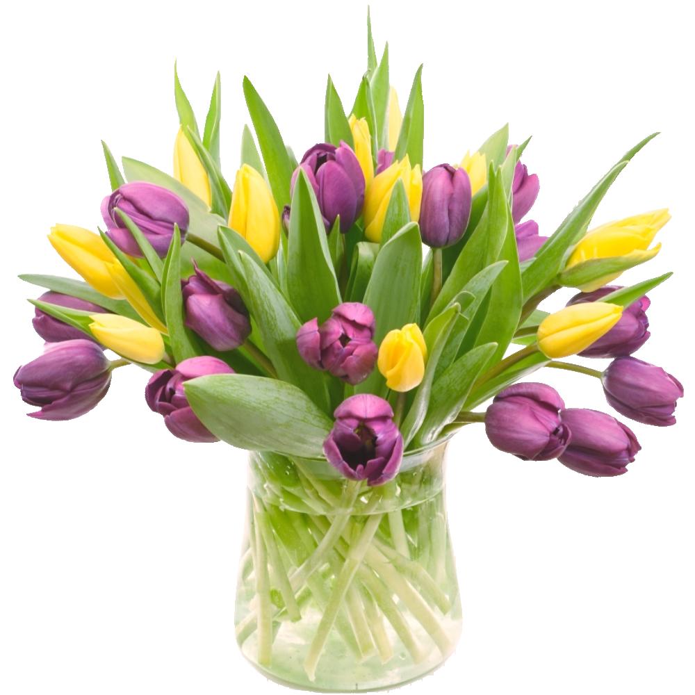 Kytica z fialových a žltých tulipánov