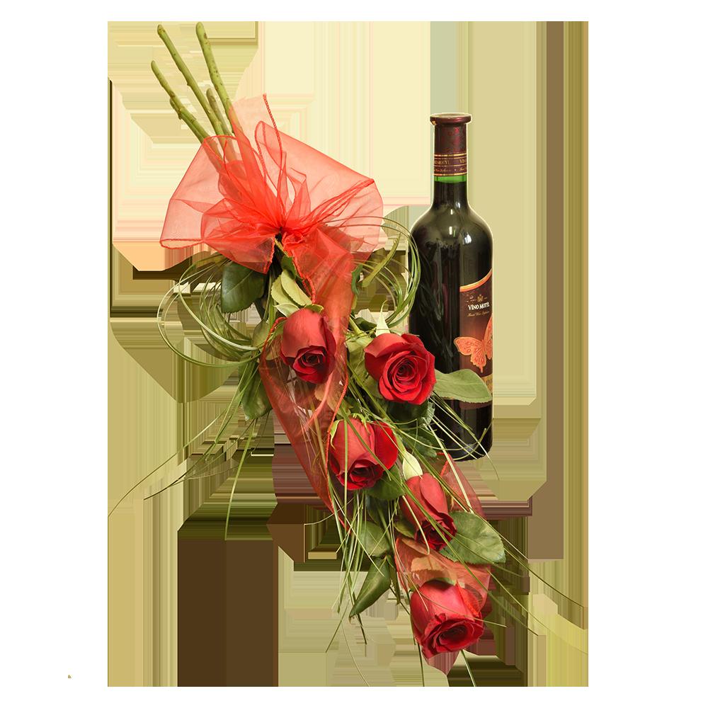 5 červených ruží s fľašou červeného vína