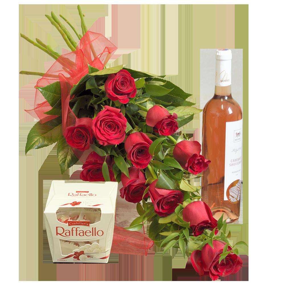 Kytica ruží s pralinkami a ružovým vínom